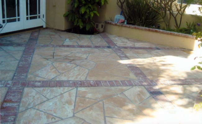 Flagstone Patio Photos. Dry Stone Rock Wall And Flagstone Patio In A ...