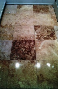 polished this travertine floor in Newport Beach, CA